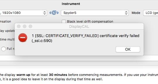 9423 (Bug) SSL Certificate Verify Failed - Mac OS X | DisplayCAL